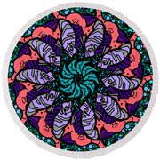 Round Beach Towel featuring the digital art Fish / Seahorse by Elizabeth McTaggart