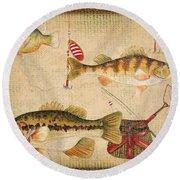 Fish Trio-a-basket Weave Border Round Beach Towel