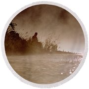 Fisher In The Mist Round Beach Towel by Sharon Elliott