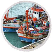 Round Beach Towel featuring the photograph Fisherman by Andrea Anderegg