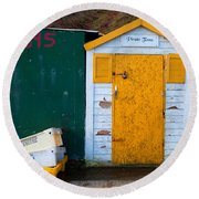 Fisherman Hut At The Harbour, Tramore Round Beach Towel