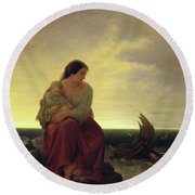 Fishermans Wife Mourning On The Beach Oil On Canvas Round Beach Towel