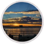 Fishermen Morning Round Beach Towel