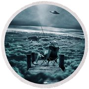 Fishing Above The Clouds Round Beach Towel