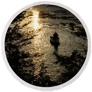 Fishing At Sunset - Thousand Islands Saint Lawrence River Round Beach Towel