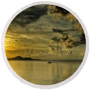 Fishing Before Dark Round Beach Towel