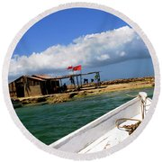 Fishing Boat Approaches Shack Round Beach Towel