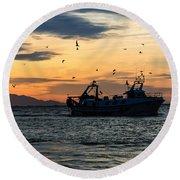 Fishing Boat At Sunset Round Beach Towel