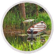 Round Beach Towel featuring the photograph Fishing Boat by Mary Carol Story