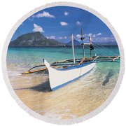Fishing Boat Moored On The Beach Round Beach Towel