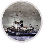 Round Beach Towel featuring the mixed media Fishing Boat by Peter v Quenter