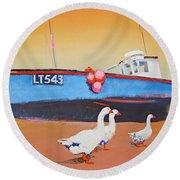 Fishing Boat Walberswick With Geese Round Beach Towel