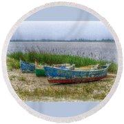 Fishing Boats Round Beach Towel by Hanny Heim