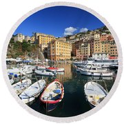 Round Beach Towel featuring the photograph fishing boats in Camogli by Antonio Scarpi