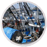 Fishing Boats In Monterey Harbor Round Beach Towel