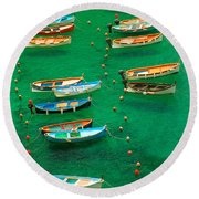 Fishing Boats In Vernazza Round Beach Towel