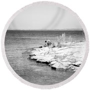 Round Beach Towel featuring the photograph Fishing by Erika Weber