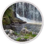 Round Beach Towel featuring the photograph Fishing Hole by Deb Halloran