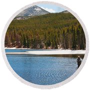 Round Beach Towel featuring the photograph Fishing In Winter by Mae Wertz