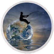 Fishing Is My World Round Beach Towel