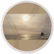 Round Beach Towel featuring the photograph Fishing Montauk by John Telfer