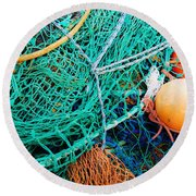 Fishing Nets And Floats Round Beach Towel by Jane McIlroy
