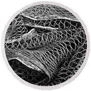 Round Beach Towel featuring the photograph Fishing Nets Monochrome by Jane McIlroy
