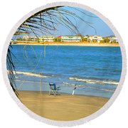 Fishing Paradise At The Beach By Jan Marvin Studios Round Beach Towel