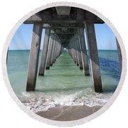 Fishing Pier Architecture Round Beach Towel