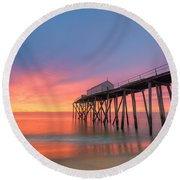 Fishing Pier Sunrise Round Beach Towel by Michael Ver Sprill