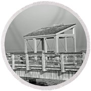 Fishing Pier Round Beach Towel by Tikvah's Hope