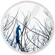 Round Beach Towel featuring the photograph Fishing The River Blue by Robyn King