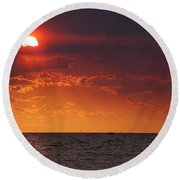 Fishing Till The Sun Goes Down Round Beach Towel