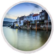 Fishing Town Of Redes Galicia Spain Round Beach Towel