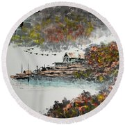 Round Beach Towel featuring the photograph Fishing Village In Autumn by Yufeng Wang