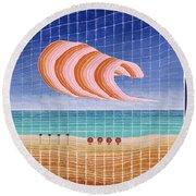Five Beach Umbrellas Round Beach Towel