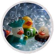 Five Ducks In A Row Round Beach Towel