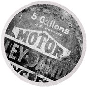Five Gallon Motorcycle Oil Can Round Beach Towel by Wilma  Birdwell