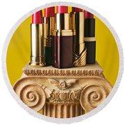 Five Red Lipstick Tubes On Pedestal Round Beach Towel
