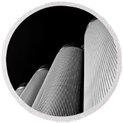 Five Silos In Black And White Round Beach Towel