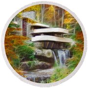 Fixer Upper - Square Version - Frank Lloyd Wright's Fallingwater Round Beach Towel