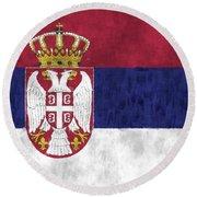Flag Of Serbia Round Beach Towel