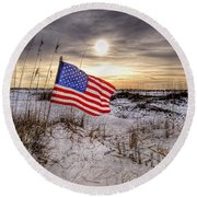 Flag On The Beach Round Beach Towel