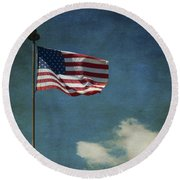 Flag - Still Standing Proud - Luther Fine Art Round Beach Towel