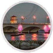 Flagler Bridge In Pink Round Beach Towel