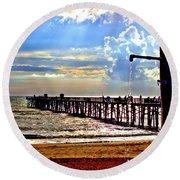 Flagler Pier Heaven Round Beach Towel