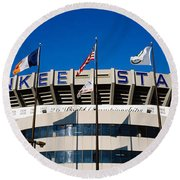 Flags In Front Of A Stadium, Yankee Round Beach Towel