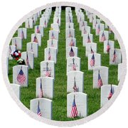 Round Beach Towel featuring the photograph Flags Of Honor by Ed Weidman