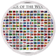 Flags Of The World Round Beach Towel