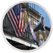 Flags On Bourbon Street Round Beach Towel